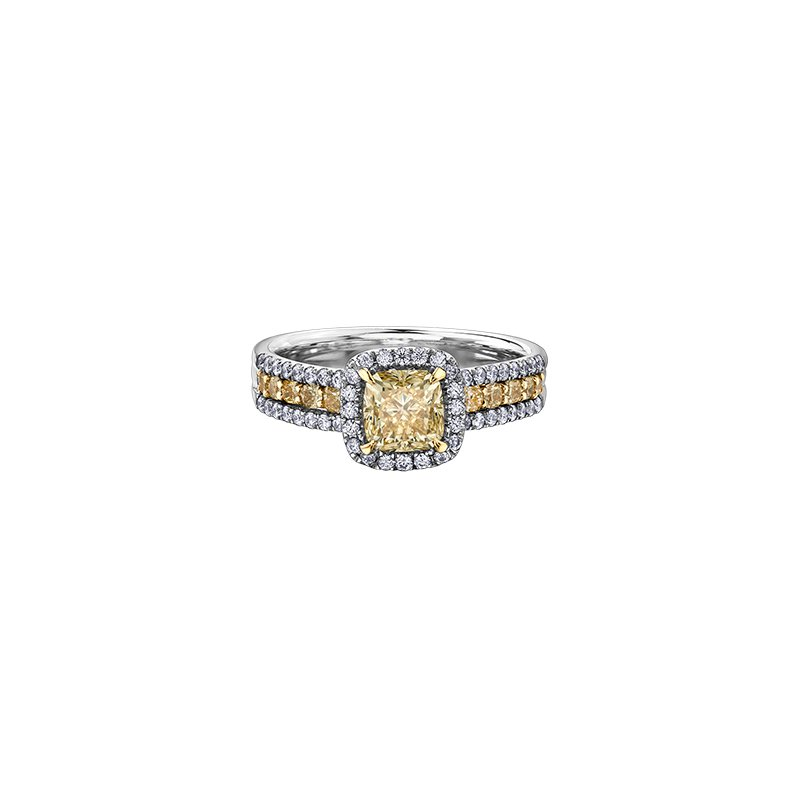 Maple Leaf Diamonds Eternal Flames Stacked Ring with Yellow Diamond Cushion Centre