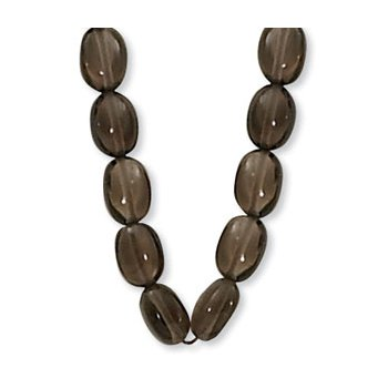Tumbled Bead Necklace in Smokey Quartz
