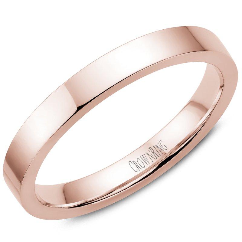 CrownRing Flat Wedding Band in Rose Gold