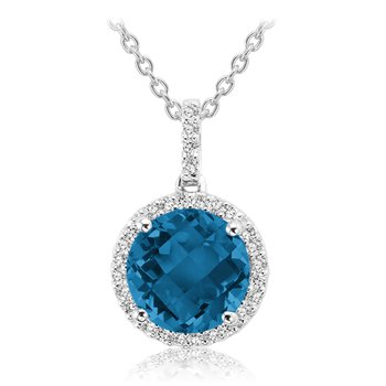 Gemstone and Diamond Halo Pendant