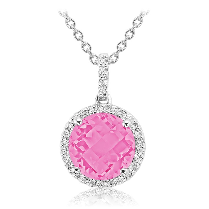RnB Jewellery Gemstone and Diamond Halo Pendant