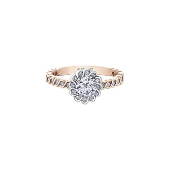 Tides of Love Halo Engagement Ring with Diamond Band