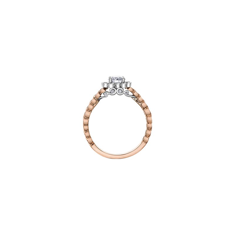 Maple Leaf Diamonds Tides of Love Halo Engagement Ring with Diamond Band