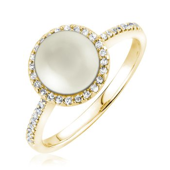 Diamond and Pearl Halo Ring