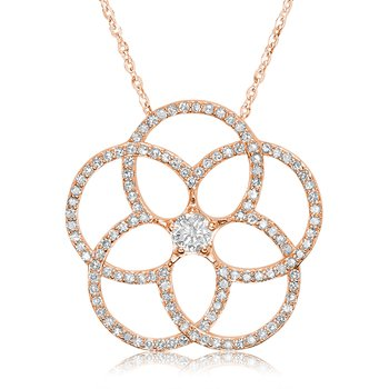 Large Diamond Flower Pendant