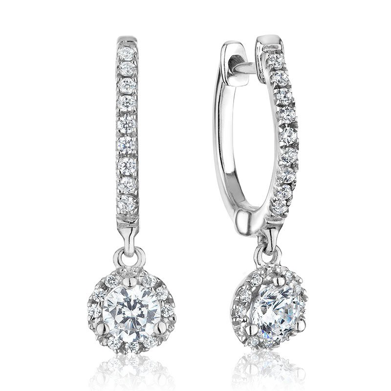 RnB Jewellery Diamond Halo Dangle Earrings