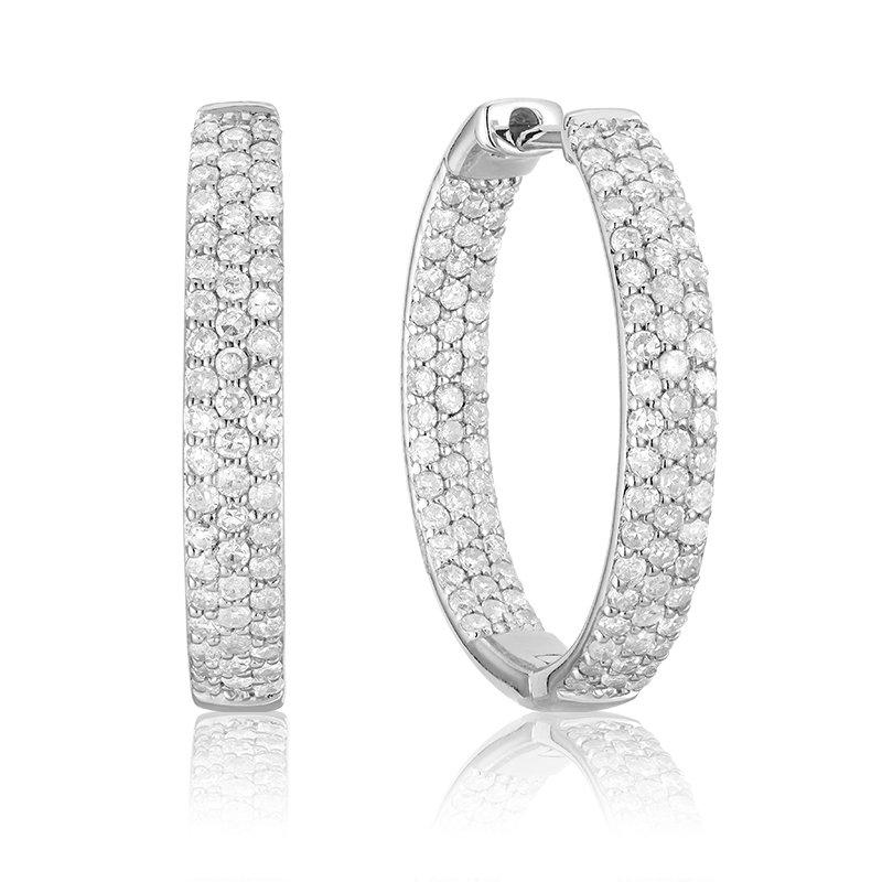 RnB Jewellery Pave Diamond Hoop Earrings