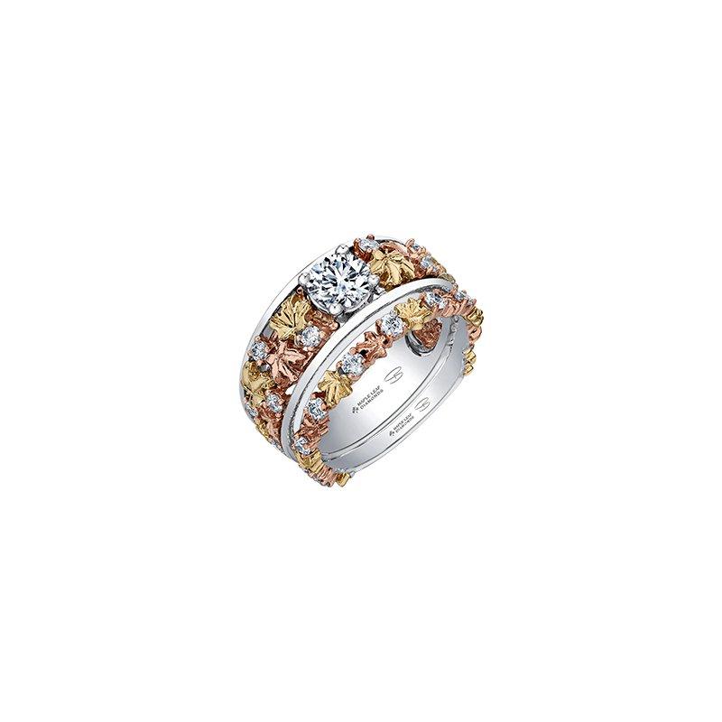 Maple Leaf Diamonds Autumn Falling Leaves Engagement Ring