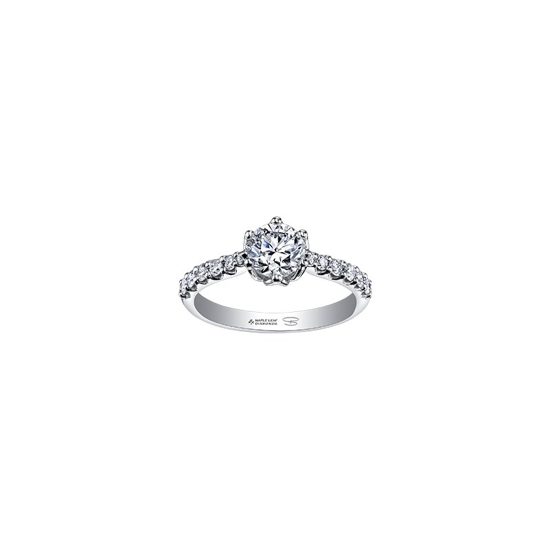 Maple Leaf Diamonds Spring Lily Six Petal Engagement Ring