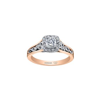 Summer Enchanted Filigree Engagement Ring with Cushion Centre in Rose Gold