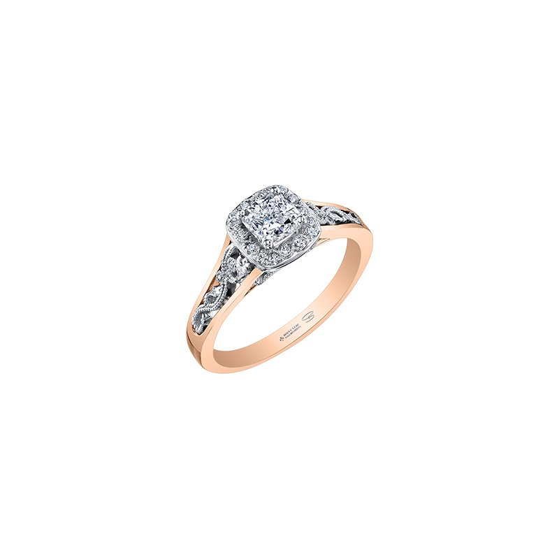 Maple Leaf Diamonds Summer Enchanted Filigree Engagement Ring with Cushion Centre in Rose Gold