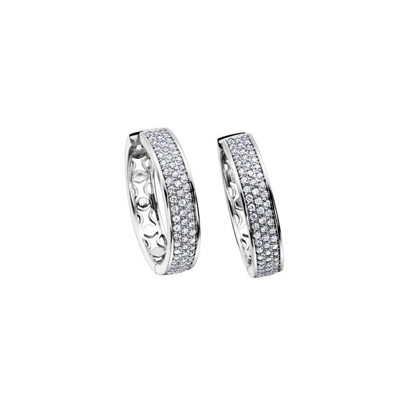 Maple Leaf Diamonds Pave Diamond Hoop Earrings