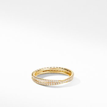 Micro Pave Crossover Band Ring in 18K Yellow Gold
