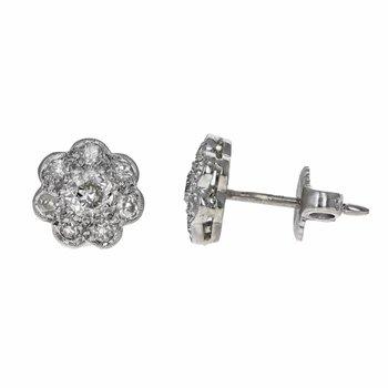 Diamond Flower Cluster Earrings