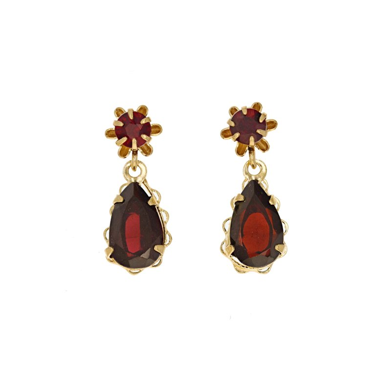 Estate Radcliffe Teardrop Garnet Earrings