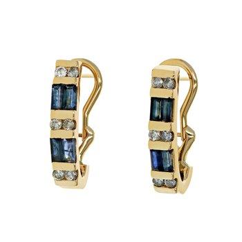 Diamond & Sapphire Half Hoop Earrings