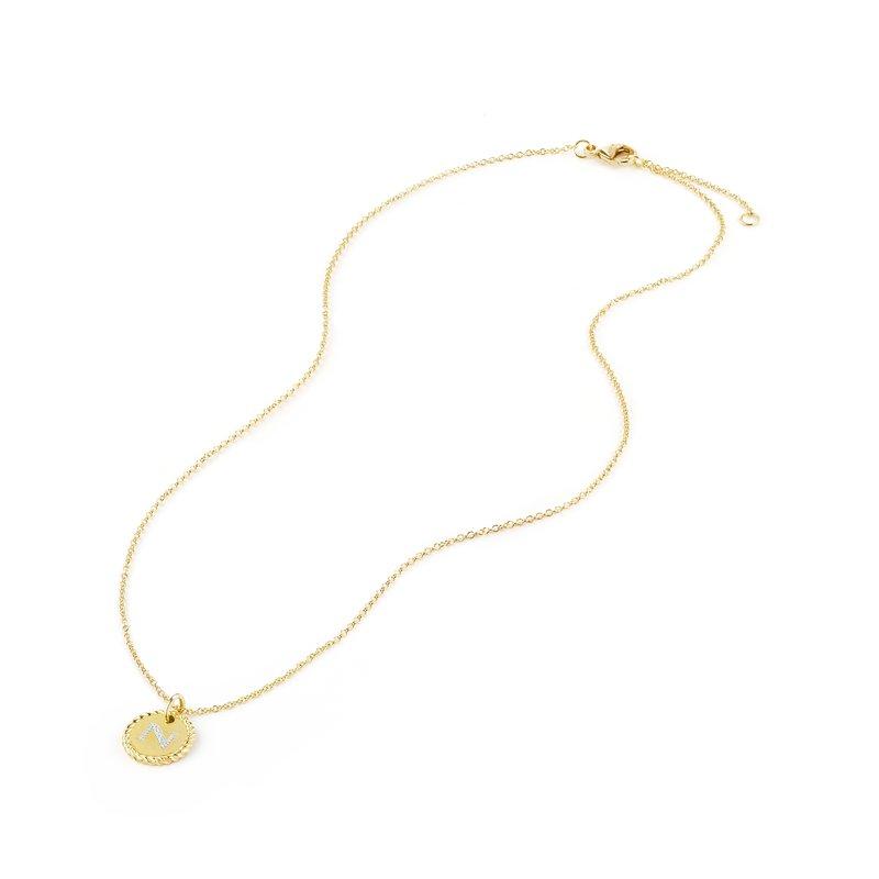 """David Yurman """"""""N"""""""" Pendant with Diamonds in Gold on Chain"""