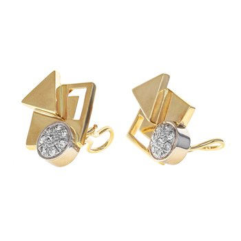 Asymmetrical Diamond Clip-On Earrings
