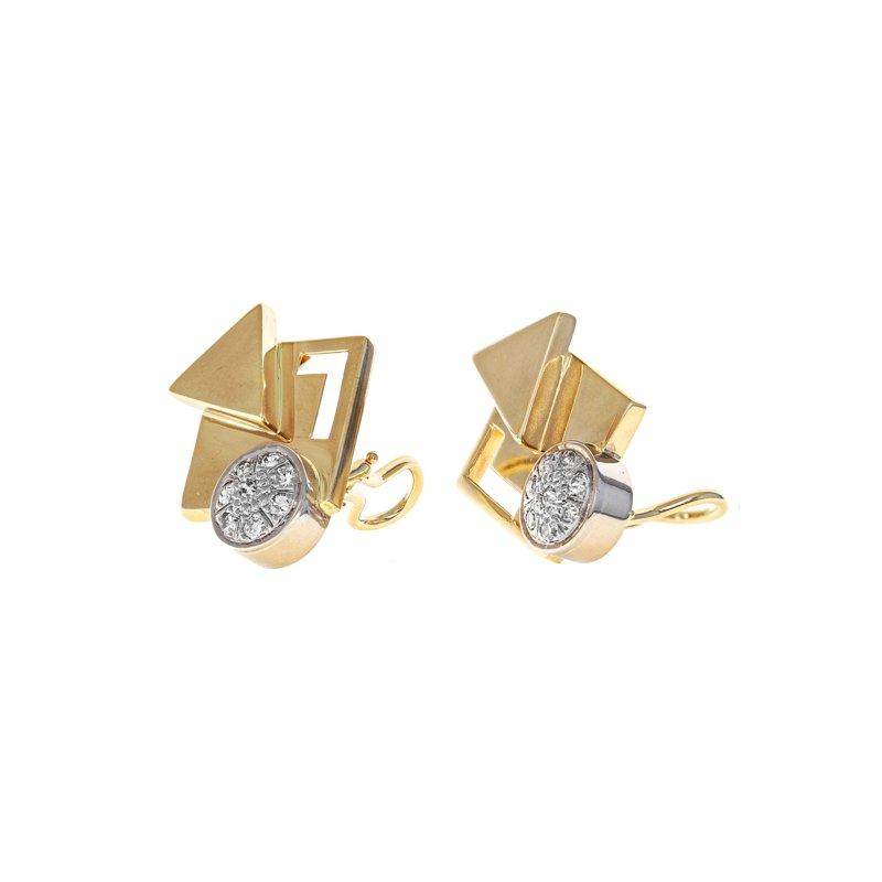 Estate Radcliffe Asymmetrical Diamond Clip-On Earrings
