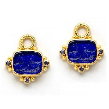 """Cobalt """"Two Cranes"""" Earring Pendants"""