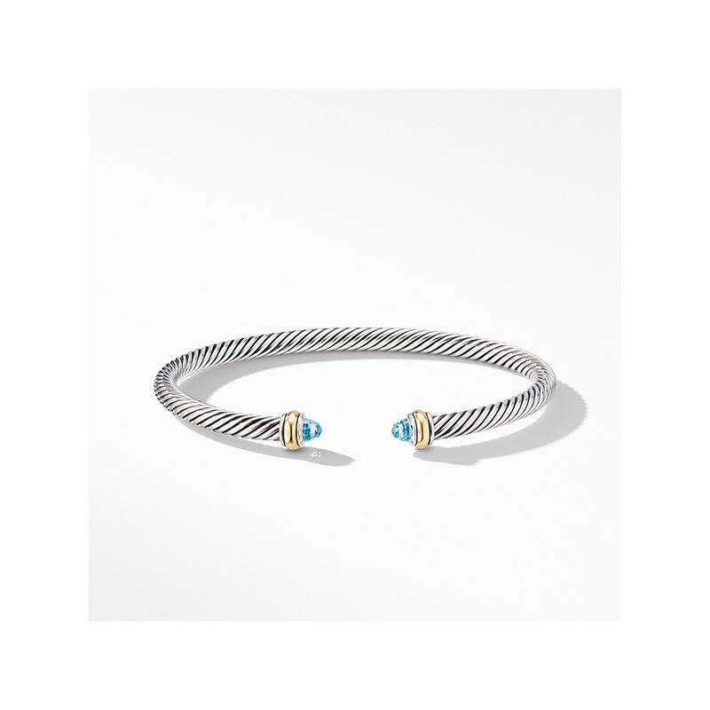 David Yurman Cable Classic Bracelet with Blue Topaz and 18K Yellow Gold