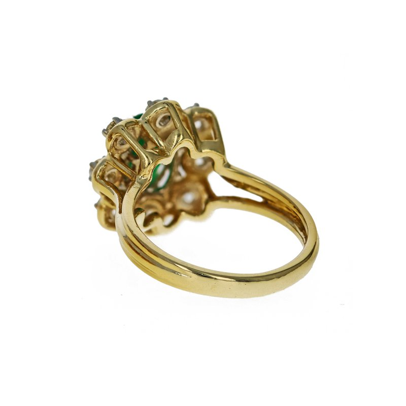 Estate Radcliffe Emerald & Diamond Flower Ring