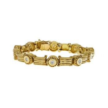 Roped Bar & Beaded Round Link Diamond Bracelet