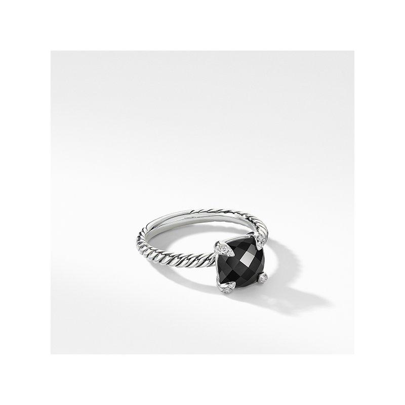 David Yurman Chatelaine Ring with Black Onyx and Diamonds