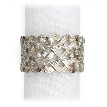 Braid Napkin Jewels (White)-Set of 4.