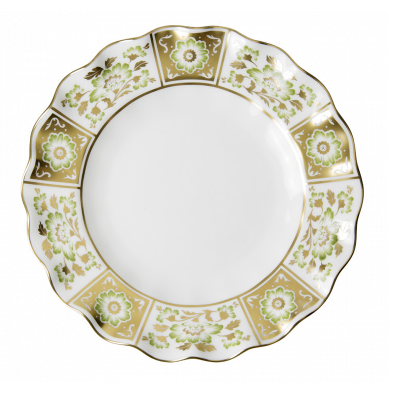 Royal Crown Derby Derby Panel Green Fluted Salad Plate