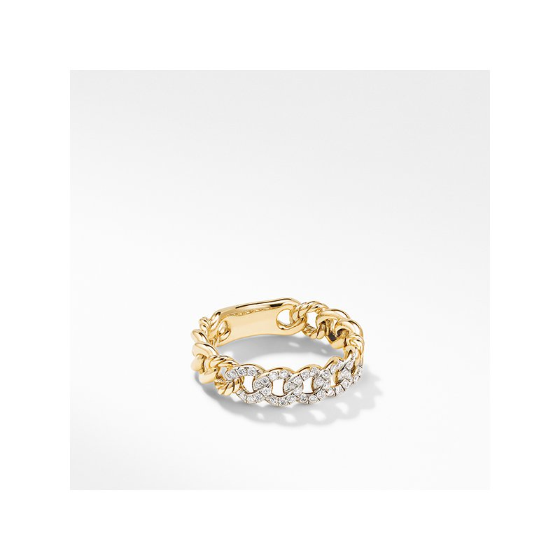 David Yurman Belmont Curb Link Narrow Ring in 18K Yellow Gold with Pave Diamonds