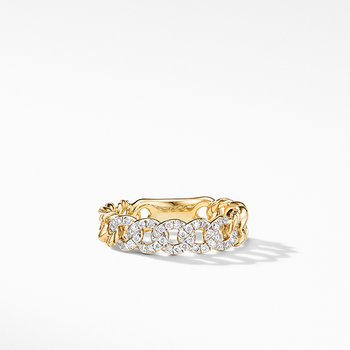 Belmont Curb Link Narrow Ring in 18K Yellow Gold with Pave Diamonds