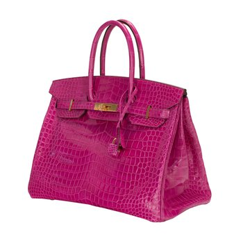 35cm Rose Scheherazade Crocodile Birkin Bag