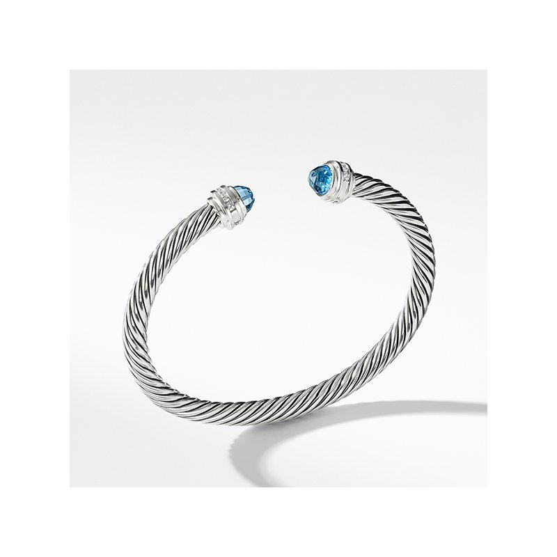 David Yurman Cable Classics Collection Bracelet with Blue Topaz and Diamonds