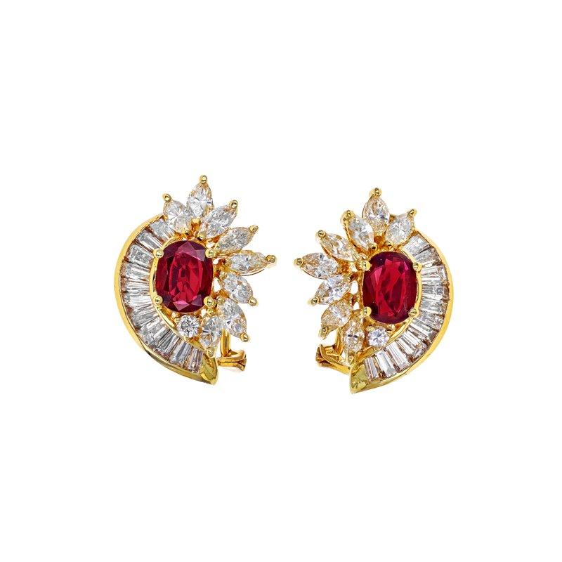 Estate Radcliffe Diamond & Ruby Cluster Earrings