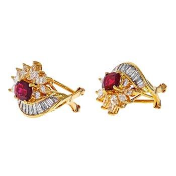 Diamond & Ruby Cluster Earrings