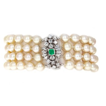 4 Strand Diamond & Emerald Pearl Bracelet
