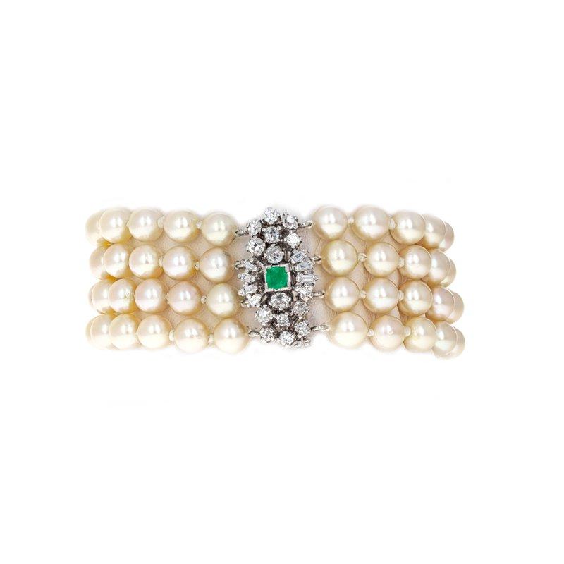 Estate Radcliffe 4 Strand Diamond & Emerald Pearl Bracelet