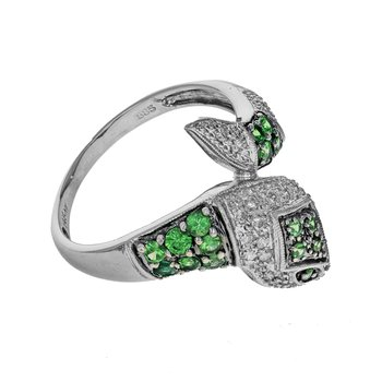 Diamond & Peridot Snake Ring