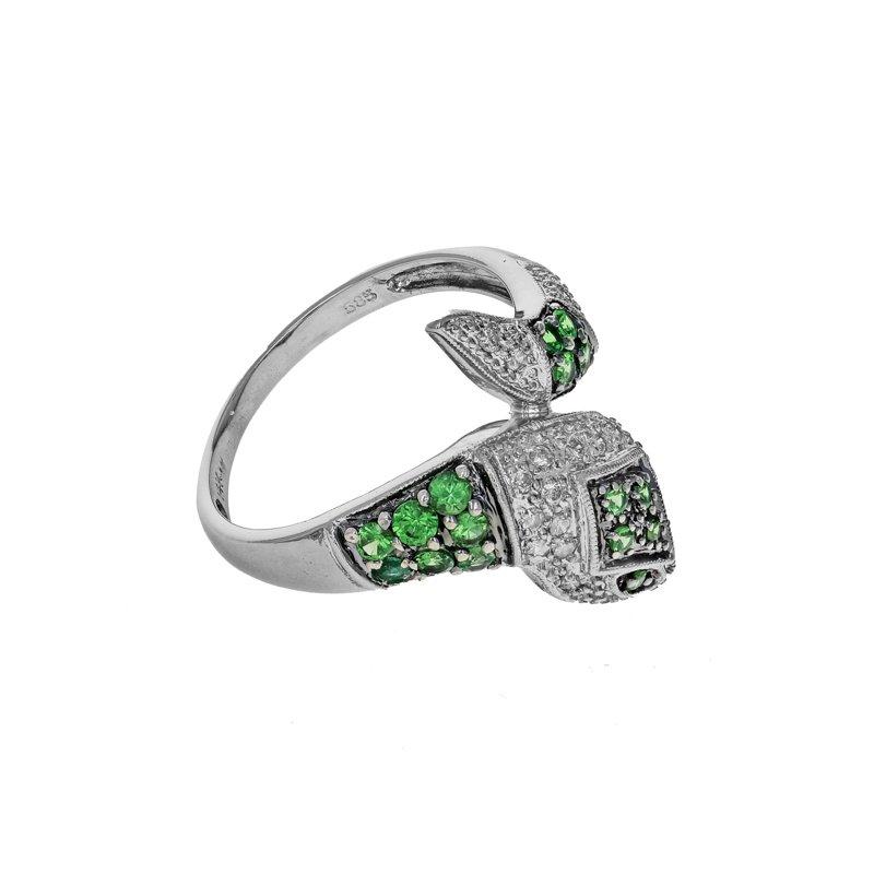 Estate Radcliffe Diamond & Peridot Snake Ring