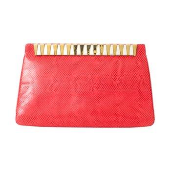 Red Lizard Karung Clutch Bag