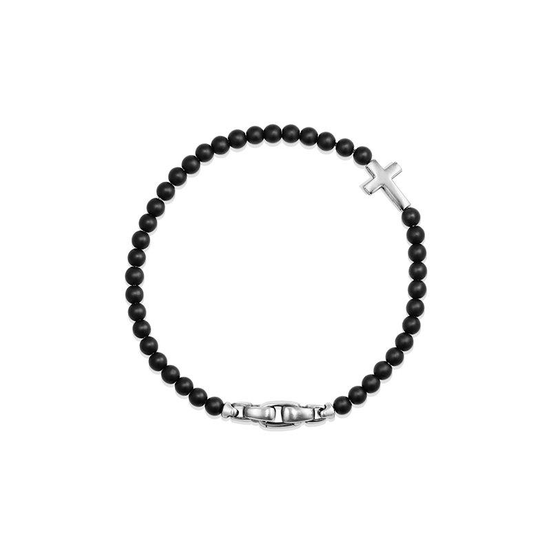 David Yurman Spiritual Beads Cross Station Bracelet with Black Onyx