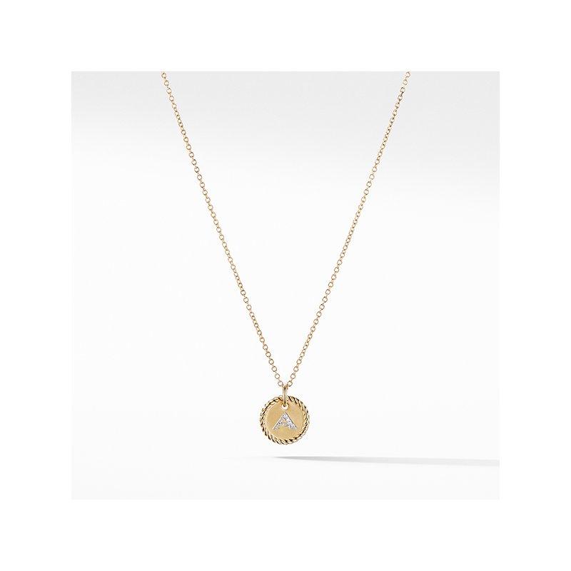"David Yurman """"A"""" Pendant with Diamonds in Gold on Chain"