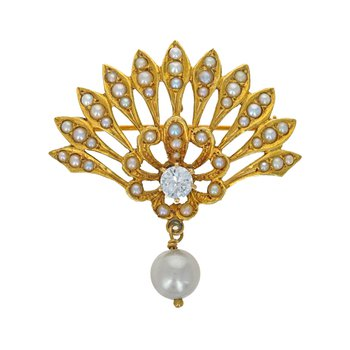 Reproduction Victorian Diamond & Seed Pearl Brooch