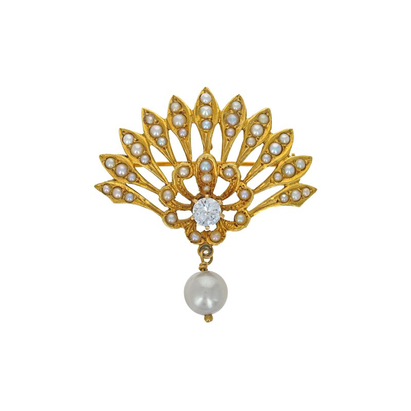 Estate Radcliffe Reproduction Victorian Diamond & Seed Pearl Brooch