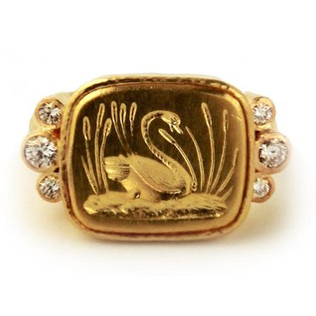 "Gold and Diamond ""Swan"" Ring"