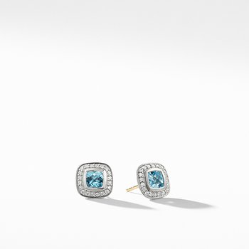 Petite Albion Earrings with Blue Topaz and Diamonds