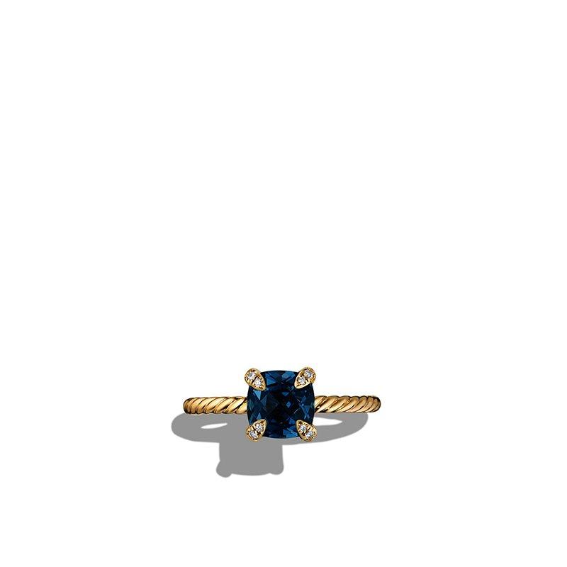 David Yurman Ring with Hampton Blue Topaz and Diamonds in 18K Gold