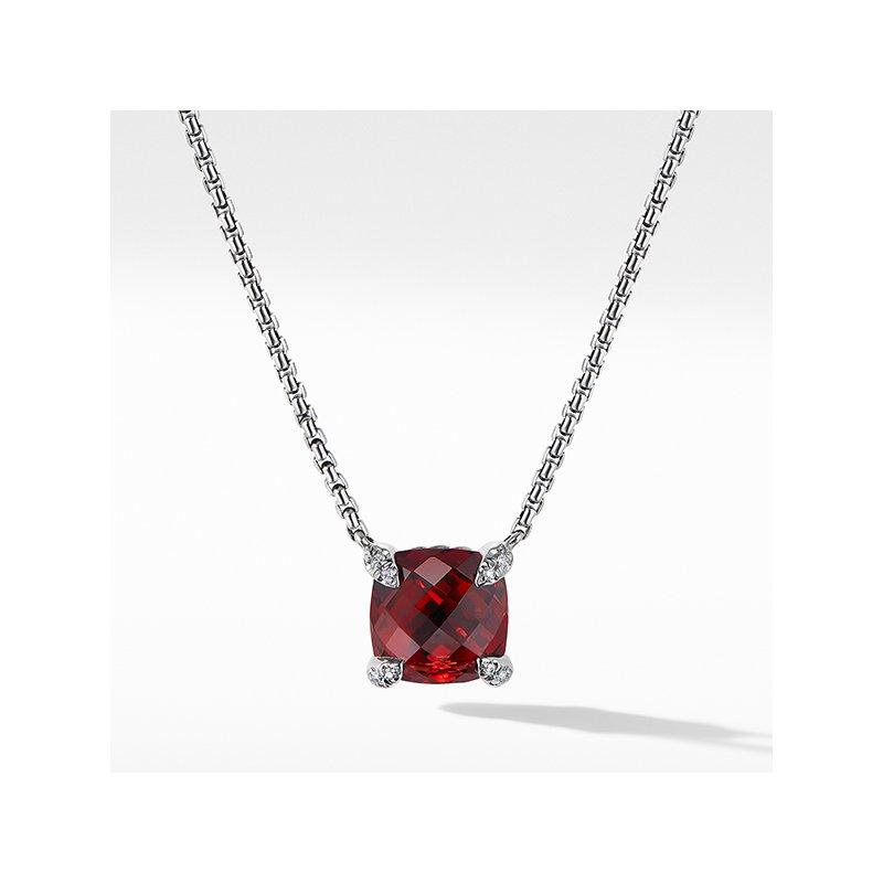 David Yurman Chatelaine Pendant Necklace with Rhodalite Garnet and Diamonds