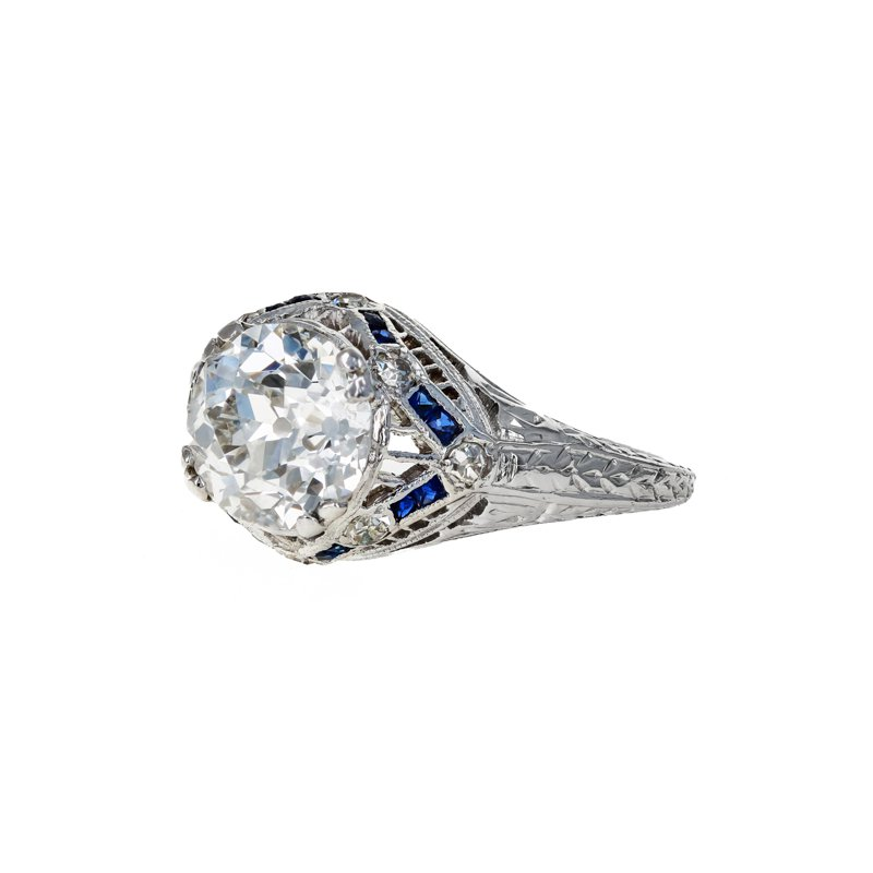 Estate Radcliffe Diamond & Sapphire Filigree Ring